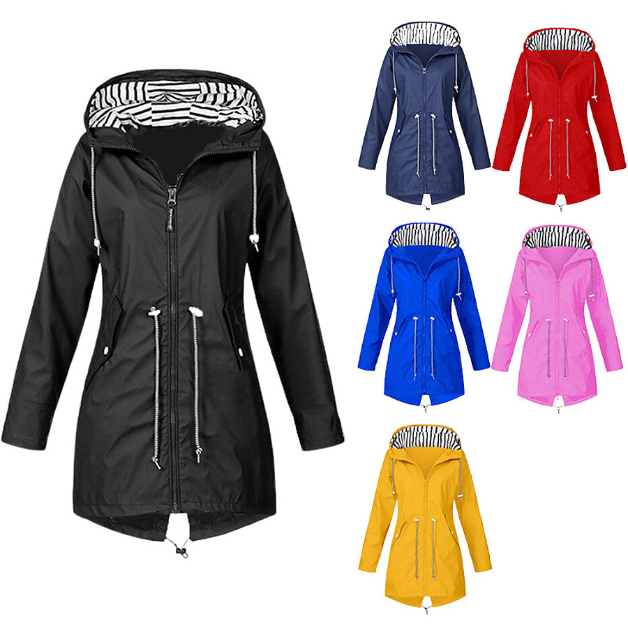 Women's Hoodie Jacket Hunting Rain Jacket Raincoat Outdoor Autumn / Fall Winter Waterproof Windproof Quick Dry Breathable Coat Top Cotton Polyester Camping / Hiking Hunting Casual Blue Yellow Black