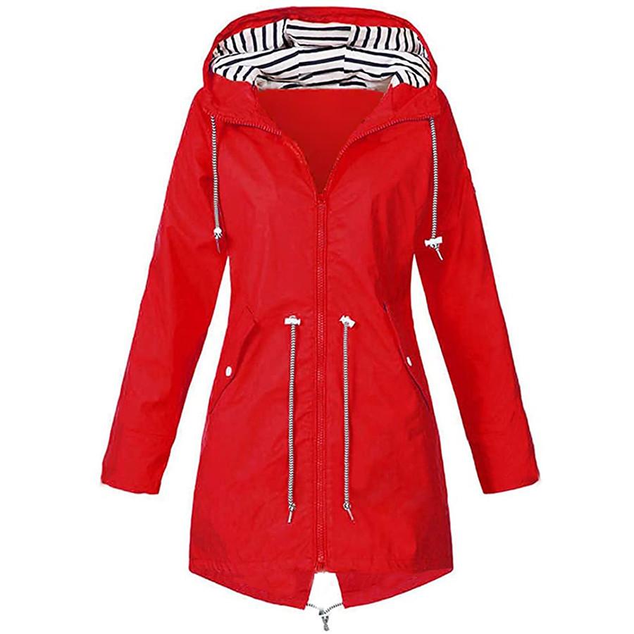 Women's Hoodie Jacket Waterproof Hiking Jacket Raincoat Rain Jacket Outdoor Thermal Warm Windproof Lightweight Breathable Windbreaker Coat Top Camping Hiking Fishing Casual Blue Yellow Black Red Navy