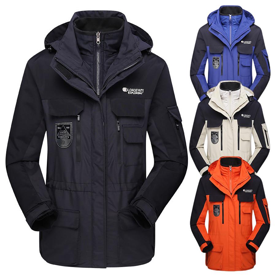 Wolfcavalry® Men's Hoodie Jacket Hiking Down Jacket Hiking 3-in-1 Jackets Winter Outdoor Waterproof Windproof Soft Comfortable Patchwork Top Camping / Hiking Hunting Ski / Snowboard Orange White