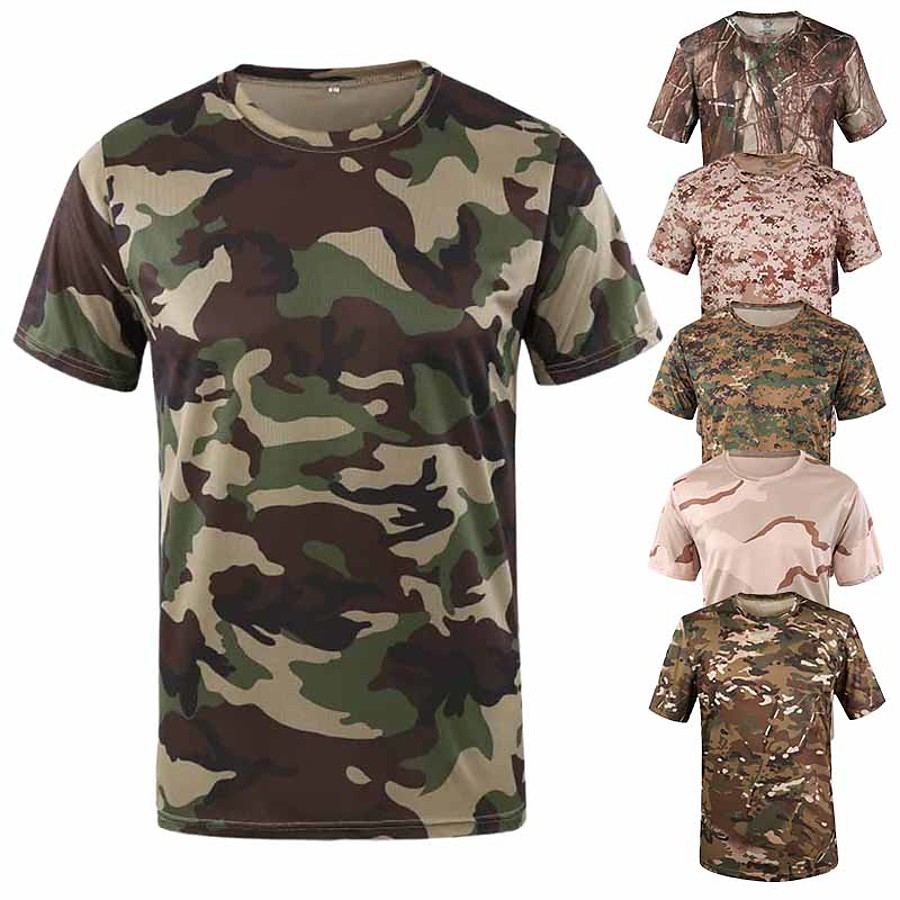 Men's Camo Solid Colored Hunting T-shirt Tee shirt Camouflage Hunting T-shirt Short Sleeve Outdoor Quick Dry Breathable Sweat wicking Wear Resistance Summer Polyester Top Camping / Hiking Hunting