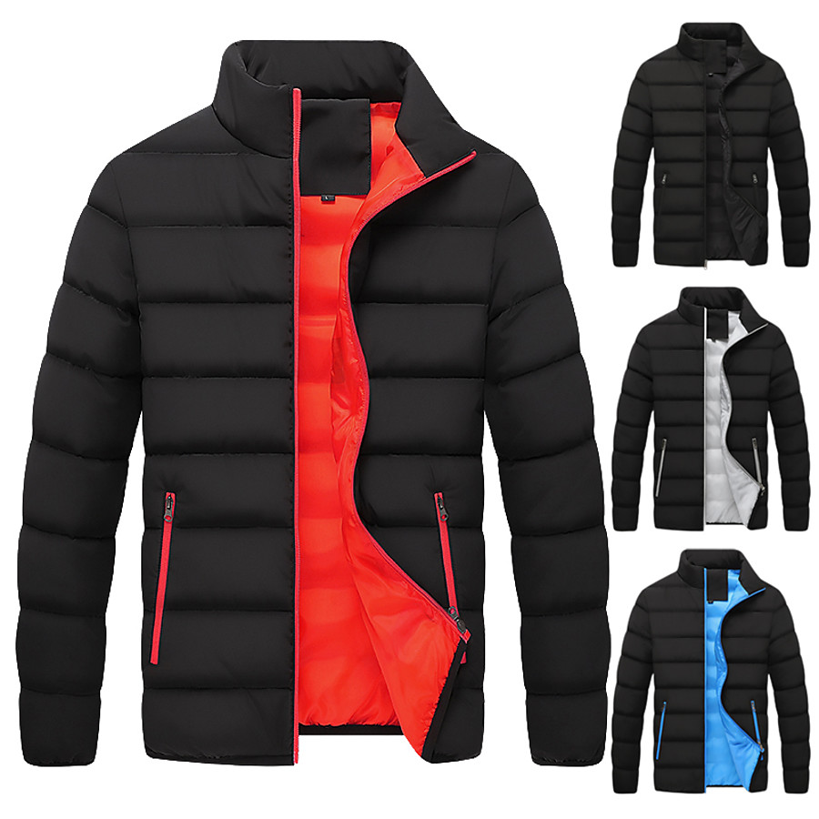 Men's Down Sports Puffer Jacket Hiking Down Jacket Hiking Windbreaker Winter Outdoor Thermal Warm Windproof Lightweight Breathable Outerwear Trench Coat Top Skiing Fishing Climbing Orange White Black