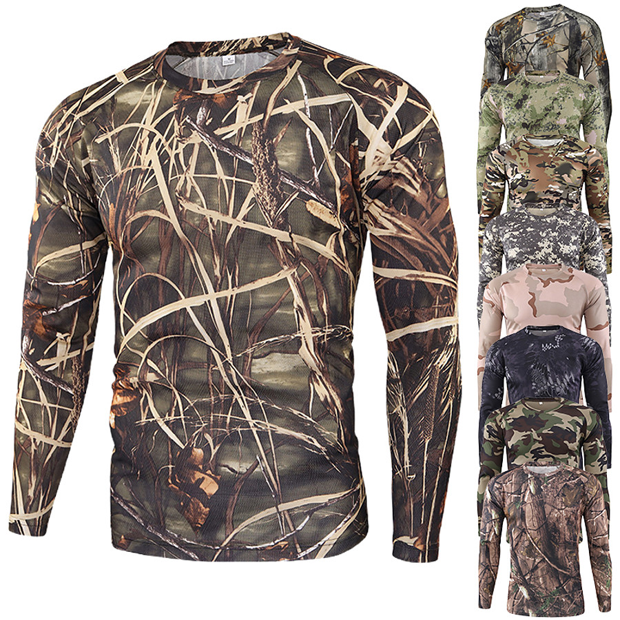 Men's Camo / Camouflage Hiking Tee shirt Camouflage Hunting T-shirt Long Sleeve Outdoor Quick Dry Breathable Soft Sweat wicking Spring Summer Cotton Polyester Top Camping / Hiking Hunting Fishing