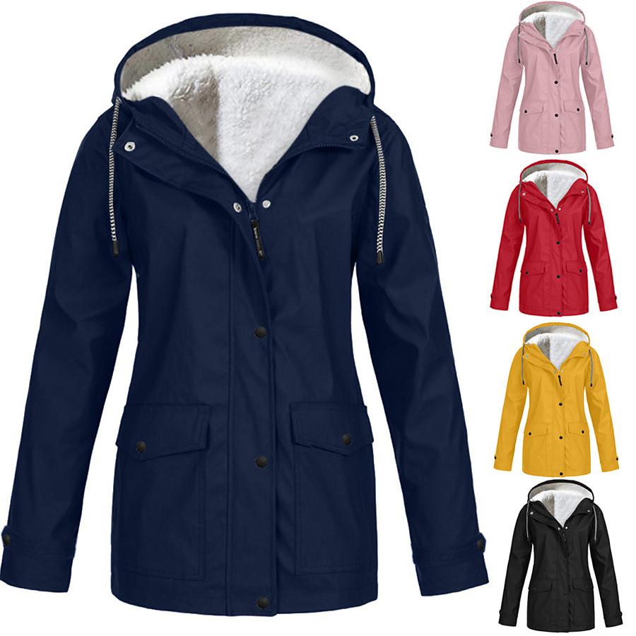 Women's Hooded Rain Jacket Outdoor Autumn / Fall Winter Thermal Warm Waterproof Windproof Sweat-Wicking Jacket Solid Color Fleece Camping / Hiking Hunting Blue Purple Yellow