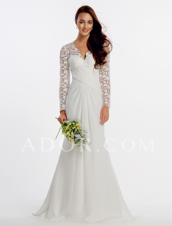 b29a5db995d ADOR Sheath   Column V Neck Sweep   Brush Train Chiffon   Floral Lace  Wedding Dresses