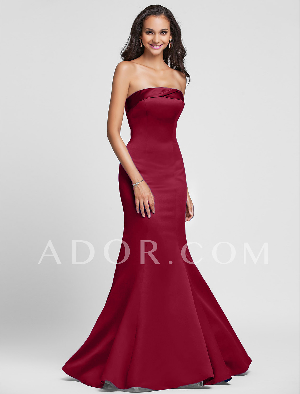 05ff62bd7374 Floor Length Satin Bridesmaid Dresses