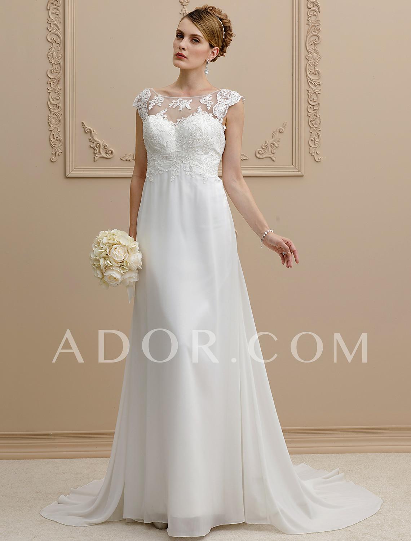 4855987a75 ADOR Sheath   Column Scoop Neck Court Train Chiffon   Lace Wedding Dresses  with Bowknot   Appliques  07039622