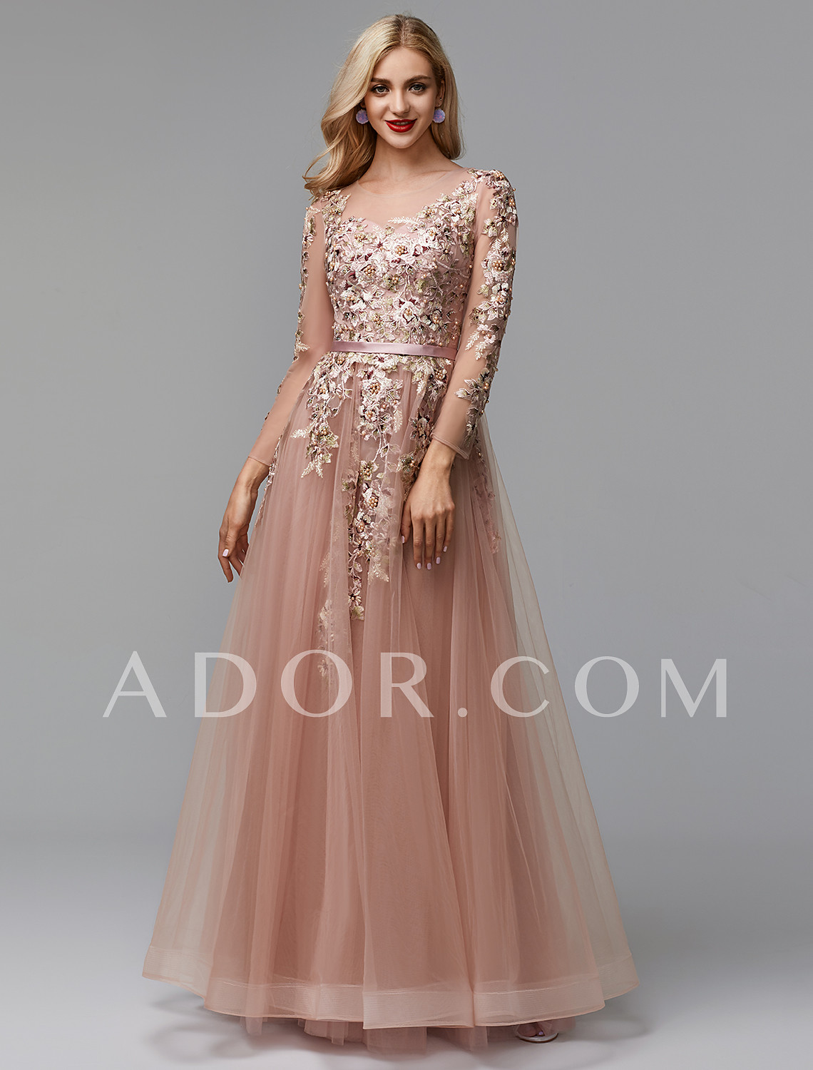 698d8c9eb3bd ADOR Evening Dress A-Line Illusion Neck Floor Length Lace / Tulle with  Beading / Embroidery #07037269