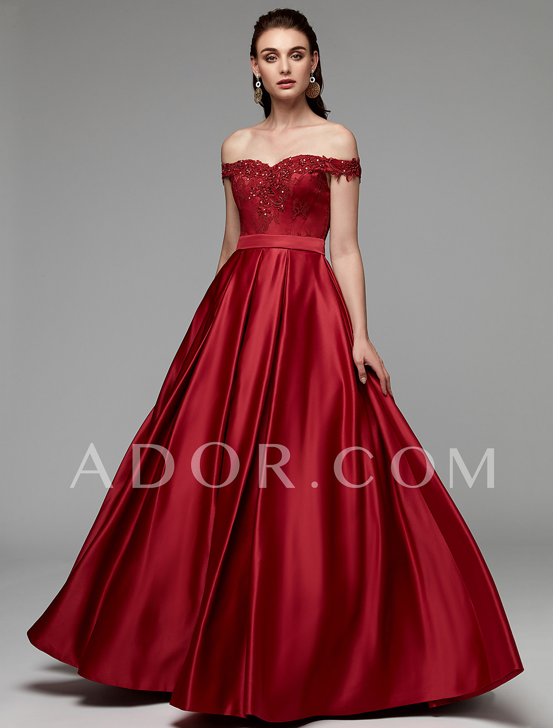 ec1c9d17acf ADOR Prom Dress A-Line Off Shoulder Floor Length Lace   Satin with Beading