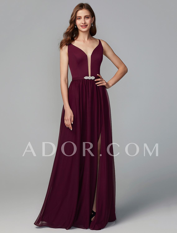 109 99 Ador A Line Y Neck Floor Length Chiffon Bridesmaid Dress With Split Front Crystal Brooch