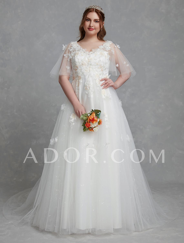 ADOR Plus Size A-Line V Neck Court Train Lace / Tulle Wedding ...