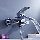billige Baderomskraner-Moderne Badekar Og Dusj Foss with  Keramisk Ventil To Huller Enkelt håndtak To Huller for  Krom , Dusjkran Badekarskran