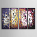 cheap People Paintings-Oil Painting Hand Painted - Abstract Canvas Four Panels