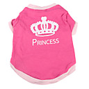 cheap Dog Clothes-Dog Shirt / T-Shirt Dog Clothes Tiaras & Crowns Pink Cotton Costume For Spring &  Fall