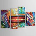 baratos Pinturas a óleo de Grandes Artistas-Pintados à mão Abstrato Qualquer Forma 4 Painéis Tela Pintura a Óleo For Decoração para casa