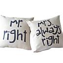 baratos Conjuntos de Almofadas-capa quadrada de almofada de texto de algodão / linho com zíper 45cm * 45cm * 2cm