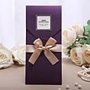 """hesapli Düğün Davetiyeleri-Şal ve Cep Düğün Davetiyeleri 20 - Davet Kartları Klasik Stil İnci Kağıdı 8 ½""""×4 ½"""" (21.5*11.5cm) Papyonlar"""
