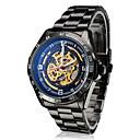baratos Relógios Mecânicos-SHENHUA Homens Relógio de Pulso / relógio mecânico Gravação Oca Aço Inoxidável Banda Luxo Preta / Automático - da corda automáticamente