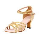 رخيصةأون أحذية لاتيني-للمرأة أحذية رقص / صالة الرقص بريّق كعب كعب مخصص مخصص أحذية الرقص فضي / فضة / ذهبي / جلد
