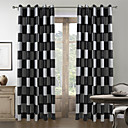 cheap Robe Hooks-Rod Pocket Grommet Top Tab Top Double Pleat Two Panels Curtain Mediterranean, Jacquard Plaid/Check Living Room Polyester Material