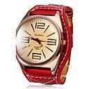hesapli Banyo Küvet Muslukları-Kadın's Bilek Saati Quartz Büyük indirim Deri Bant Analog İhtişam Moda Elbise Saat Kırmızı