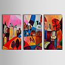 voordelige Abstracte schilderijen-Handgeschilderde Abstract Horizontaal, Klassiek Traditioneel Hang-geschilderd olieverfschilderij Huisdecoratie Drie panelen