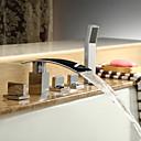 billige Badekraner-Badekarskran - Moderne Krom Romersk kar Keramisk Ventil Bath Shower Mixer Taps / Messing / Tre Håndtak fem hull