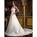 cheap Night Lights-A-Line Sweetheart Neckline Cathedral Train Lace Over Satin Made-To-Measure Wedding Dresses with Beading / Appliques / Sash / Ribbon by