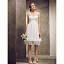 זול מתנות לחתונה-גזרת A / נסיכה צווארון V באורך  הברך שיפון / תחרה שמלה לשושבינה  עם תחרה / קפלים על ידי LAN TING BRIDE®