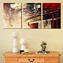 halpa Venytetyt kanvaasitulosteet-Pingoitetut kanvasprintit Kanvassarja Abstrakti 3 paneeli Horizontal Painettu Wall Decor Kodinsisustus