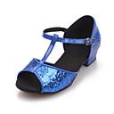 cheap Latin Shoes-Women's Latin Shoes / Ballroom Shoes Sparkling Glitter Sandal Sparkling Glitter / Buckle Low Heel Non Customizable Dance Shoes Gold /