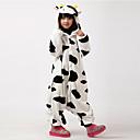 cheap Kigurumi Pajamas-Kid's Kigurumi Pajamas Milk Cow Onesie Pajamas Flannel Toison Black / White Cosplay For Boys and Girls Animal Sleepwear Cartoon Festival / Holiday Costumes