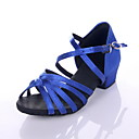cheap Latin Shoes-Women's Latin Shoes / Ballroom Shoes Satin Sandal Low Heel Non Customizable Dance Shoes Leopard / Black / Royal Blue / Kid's / Suede