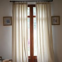 cheap Curtains Drapes-Curtains Drapes Living Room Solid Colored Linen / Cotton Blend Print