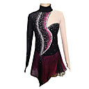 cheap Ice Skating Dresses , Pants & Jackets-Figure Skating Dress Women's / Girls' Ice Skating Dress Black and Purple Spandex Competition Skating Wear Handmade Solid Colored / Fashion Long Sleeve Ice Skating / Figure Skating