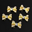 cheap Rhinestone & Decorations-10pcs bling charm golden bow tie 3d alloy rhinestones nail art decoration