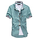 cheap Synthetic Capless Wigs-Men's Plus Size Cotton Slim Shirt - Solid Colored Basic Button Down Collar / Short Sleeve
