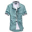 billige Mode Halskæde-Button down-krave Tynd Herre - Ensfarvet Bomuld, Basale Plusstørrelser Skjorte / Kortærmet