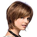 billige Syntetiske parykker-Syntetiske parykker Dame Rett Brun Syntetisk hår Brun Parykk Lokkløs Brun