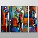 cheap Top Artists' Oil paitings-Oil Painting Hand Painted - Abstract Canvas Three Panels