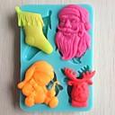 preiswerte Backformen-Weihnachtsbaum Glocke Geschenk Bär Fondantkuchen Schokolade Silikonform Kuchen Dekorationswerkzeuge, l10.6cm * w7.3cm * h1.1cm