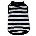 cheap Dog Clothes-Cat Dog Shirt / T-Shirt Dog Clothes Stripe Heart Black/White Terylene Costume For Pets