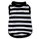 hesapli Köpek Giyimi-Kedi Köpek Tişört Köpek Giyimi Çizgi Kalp Siyah/Beyaz Terylene Kostüm Evcil hayvanlar için