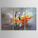preiswerte Landschaften-Hang-Ölgemälde Handgemalte - Abstrakt Segeltuch Drei Paneele