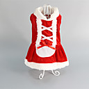 cheap Pet Christmas Costumes-Cat Dog Dress Dog Clothes Red Cotton Costume For Pets Women's Wedding Christmas