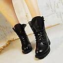 hesapli Kadın Botları-Kadın's Ayakkabı Yapay Deri Sonbahar / Kış Combat Botları Düşük Topuk 15.24-20.32 cm / Yarı-Diz Boyu Çizmeler için Bağcıklı Siyah