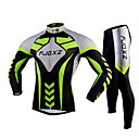 cheap Fitness, Running & Yoga Clothing-FJQXZ Men's Long Sleeves Cycling Jersey with Tights - Green Bike Tights Clothing Suits, 3D Pad, Quick Dry, Ultraviolet Resistant,