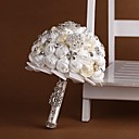 "baratos Bouquets de Noiva-Bouquets de Noiva Buquês Casamento Miçangas Renda Strass Poliéster 10.24""(Aprox.26cm)"