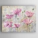 זול ציורי פרחים/צמחייה-ציור שמן צבוע-Hang מצויר ביד - פרחוני / בוטני עכשווי בַּד