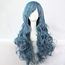 cheap Synthetic Capless Wigs-Synthetic Wig Curly / Loose Wave / Natural Wave Asymmetrical Haircut Synthetic Hair 25 inch Natural Hairline Blue Wig Women's Long Capless Blue