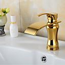halpa Kylpyhuonetarvikkeet-Nykyaikainen Kolmiosainen Keraaminen venttiili Yksi reikä Yksi kahva yksi reikä Ti-PVD